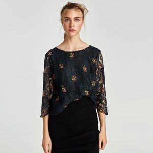 NWOT Zara Black Lace Top Embroidered Floral Small